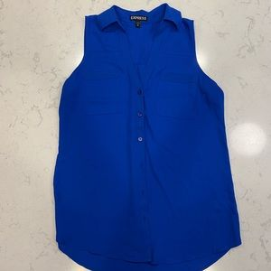 Dressy sleeveless shirt blue